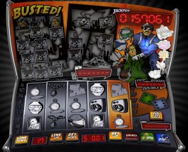 Play Busted! slot machine and other casino games at Win A Day Casino!